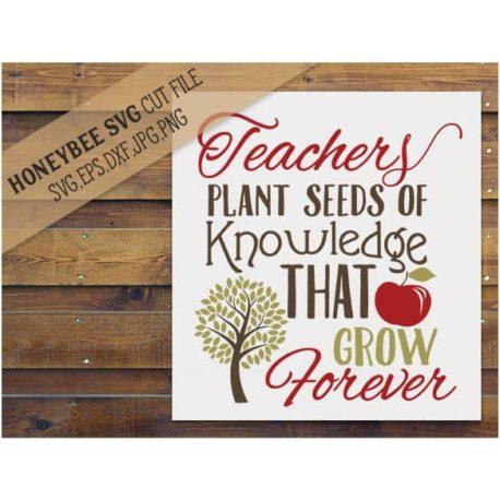 HoneybeeSVG Teachers Plant Seeds of Knowledge SVG Cut File