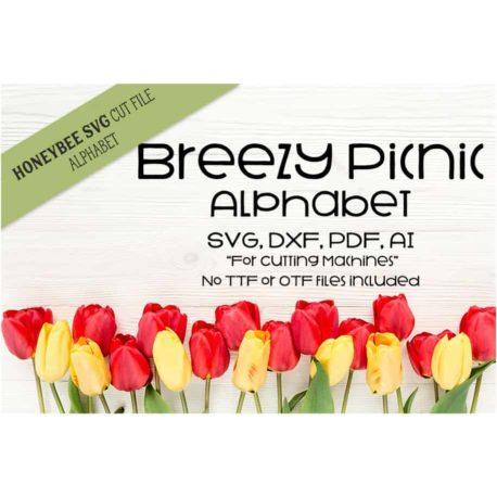 Honeybee SVG Breezy Picnic Alphabet SVG Cut Files