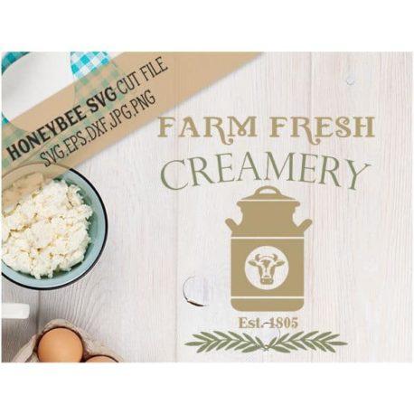 Honeybee SVG Farm Fresh Creamery SVG Cut File