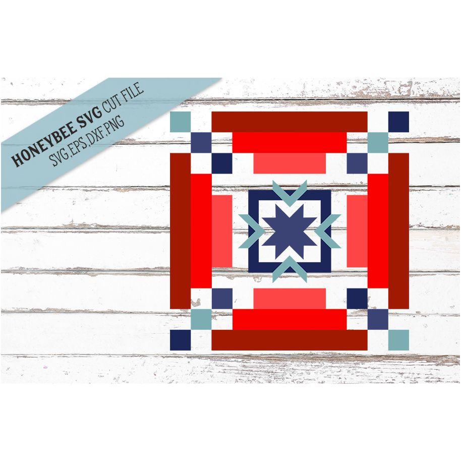 Americana Stripy Barn Quilt SVG Cut File