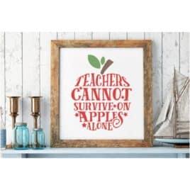 Teachers Cannot Survive On Apples Alone SVG Cut File