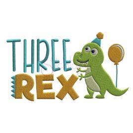 Birthday Three Rex Embroidery Design