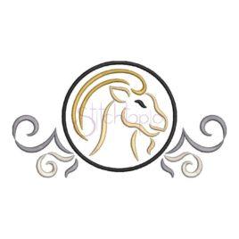 Zodiac Symbol Embroidery Design – Capricorn