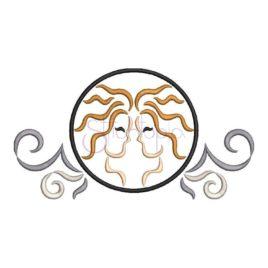 Zodiac Symbol Embroidery Design – Gemini