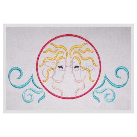 Stitchtopia Zodiac Gemini Embroidery Design - Horoscope