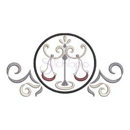 Zodiac Symbol Embroidery Design – Libra