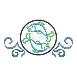 Zodiac Symbol Embroidery Design – Pisces