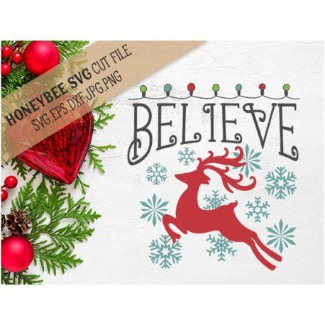 HoneybeeSVG Believe Christmas Lights SVG Cut File