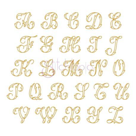 Stitchtopia Graceful Foliage Monogram Font