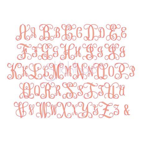 Stitchtopia Interlocking Vine Filled Monogram Font