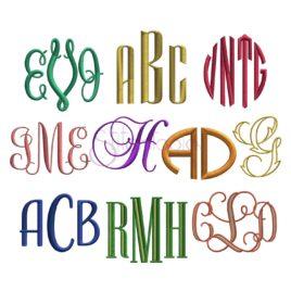 Monogram Embroidery Font Bundle #2 – 10 Fonts