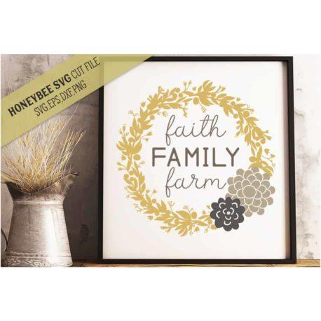 Stitchtopia Honeybee SVG Faith Family Farm SVG Cut File