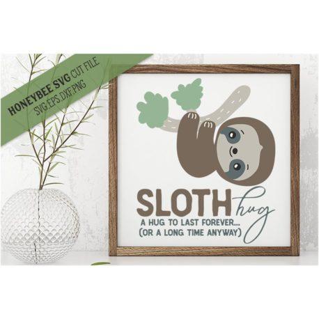 Stitchtopia HoneybeeSVG Sloth Hug SVG Cut File