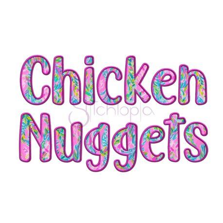 Stitchtopia Chicken Nuggets Applique Font