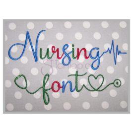 Nursing  Embroidery Font Bundle #1-3 – 1″ 1.25″ 1.5″ 2″ 2.5″