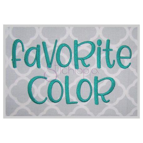 Stitchtopia Favorite Color Embroidery Font