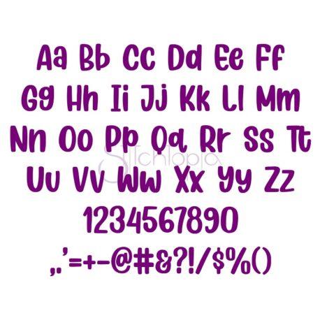 Stitchtopia Grape Soda Embroidery Font - All Letters