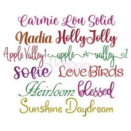 * Script Embroidery Font Bundle #7 – 10 Fonts