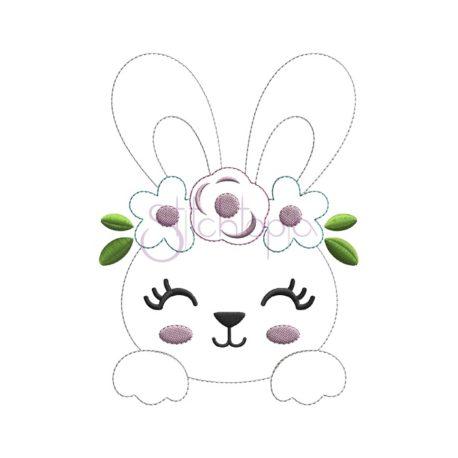 Stitchtopia Bean Stitch Bunny Face Applique b