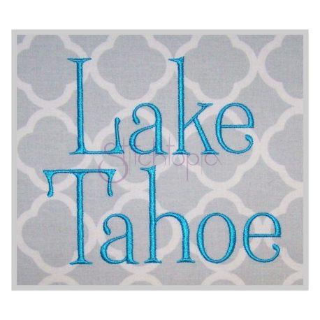 Stitchtopia Lake Tahoe Embroidery Font