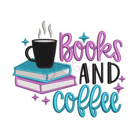 Stitchtopia Books And Coffee Embroidery Design