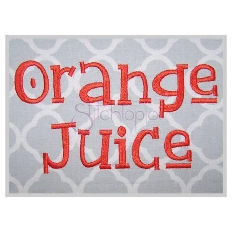 Stitchtopia Orange Juice Embroidery Design - All Letters