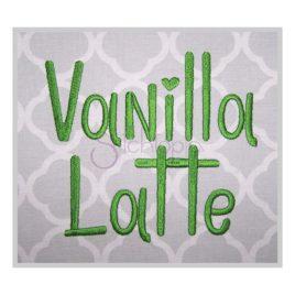 * Vanilla Latte Embroidery Font .75″ 1″ 1.25″ 1.5″ 2″