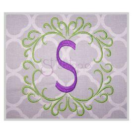 Swirly Framed Embroidery Monogram 3″ 4″ 5″