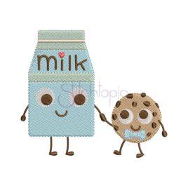 Milk & Cookie Embroidery Design