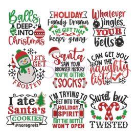 * Funny Christmas Embroidery Design Set