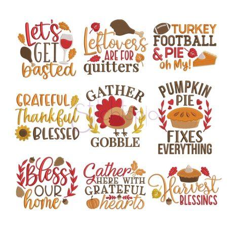 Stitchtopia Thanksgiving Embroidery Design Set